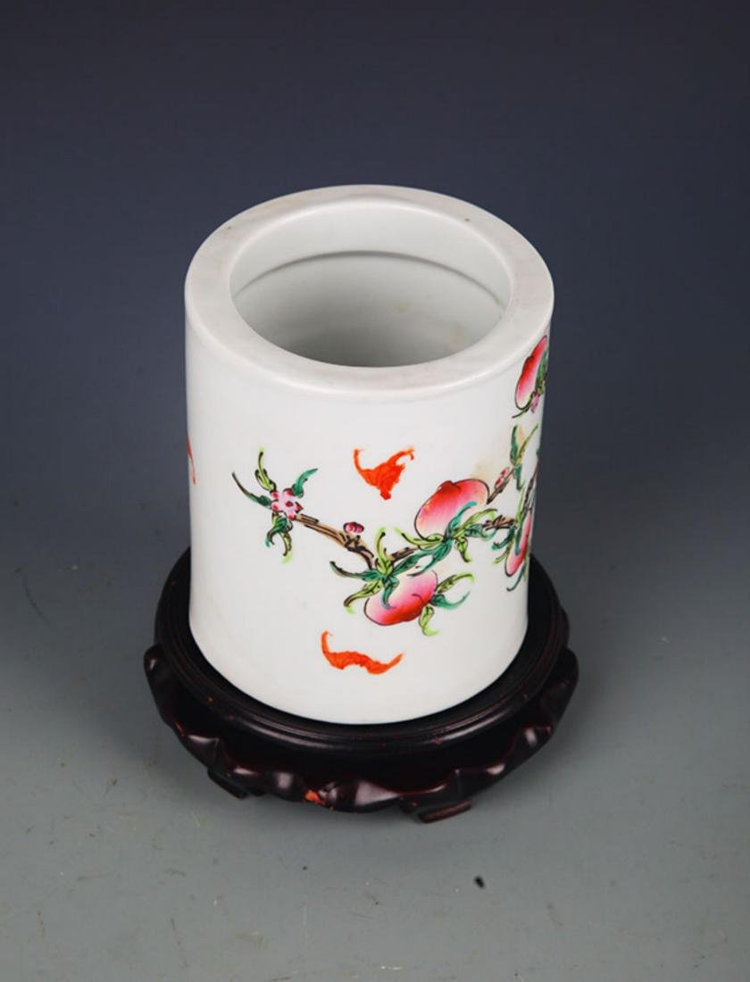 "A ""JU REN TANG ZHI"" FAMILLE ROSE BRUSH POT - 4"