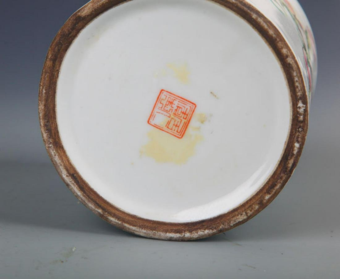 "A ""JU REN TANG ZHI"" FAMILLE ROSE BRUSH POT - 5"