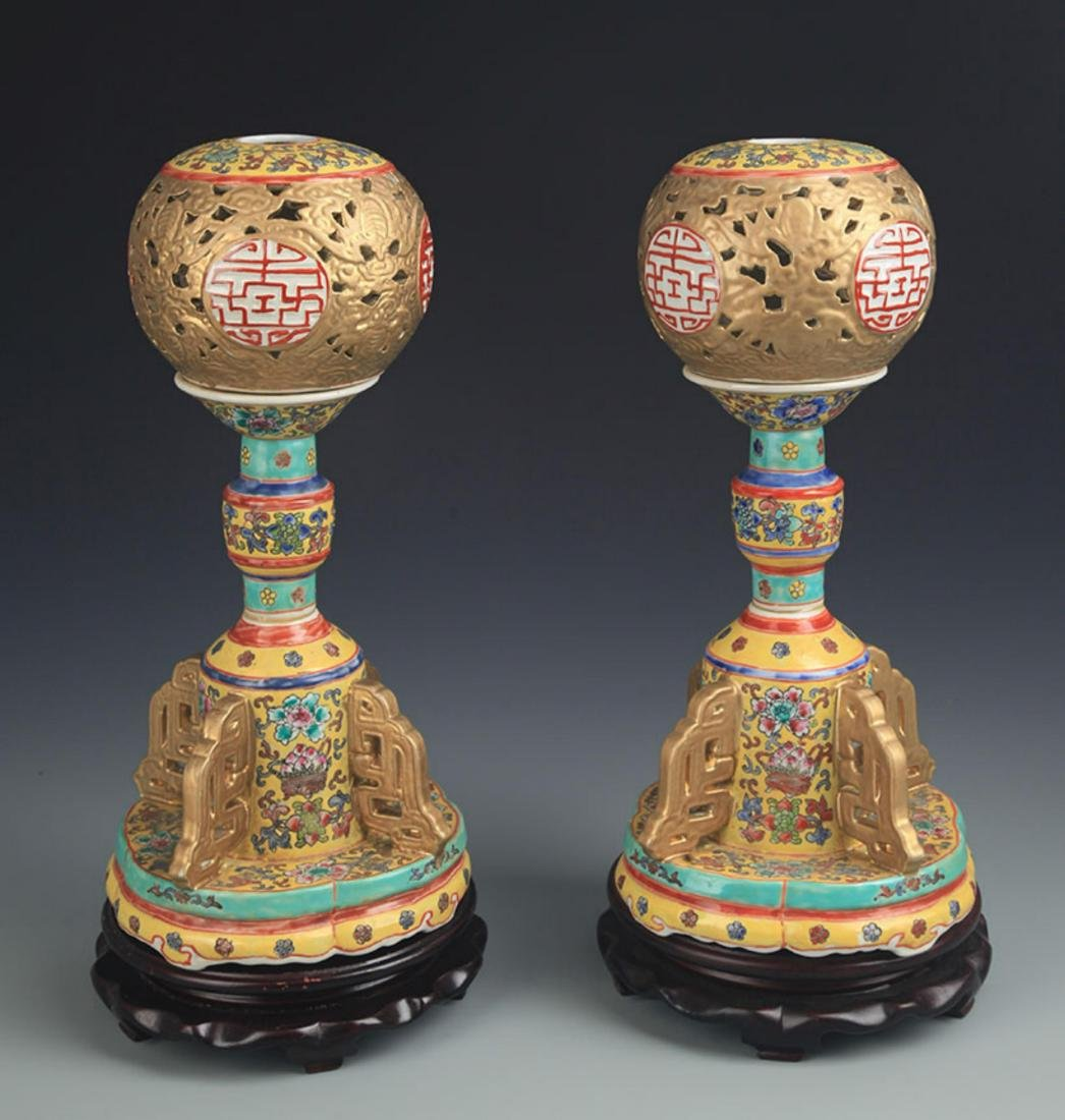 PAIR OF YELLOW GROUND ENAMEL COLOR CANDLE STICK