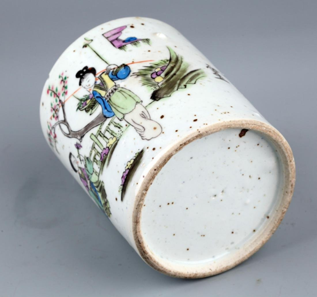 A COLORED STORY PAINTED PORCELAIN BRUSH POT - 4