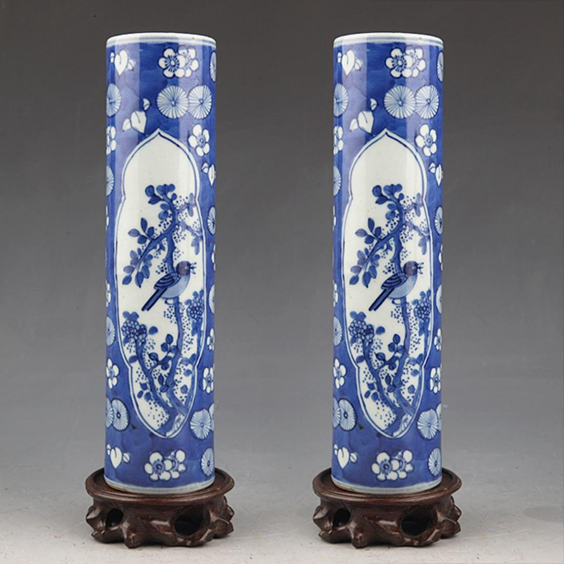PAIR OF FINELY PAINTED BLUE AND WHITE FLOWER JAR
