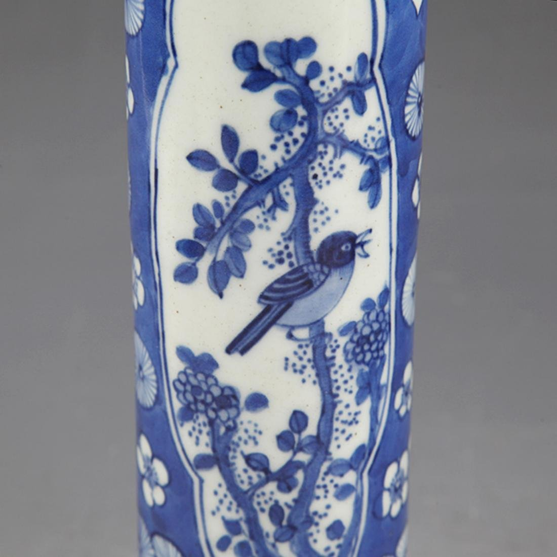 PAIR OF FINELY PAINTED BLUE AND WHITE FLOWER JAR - 3