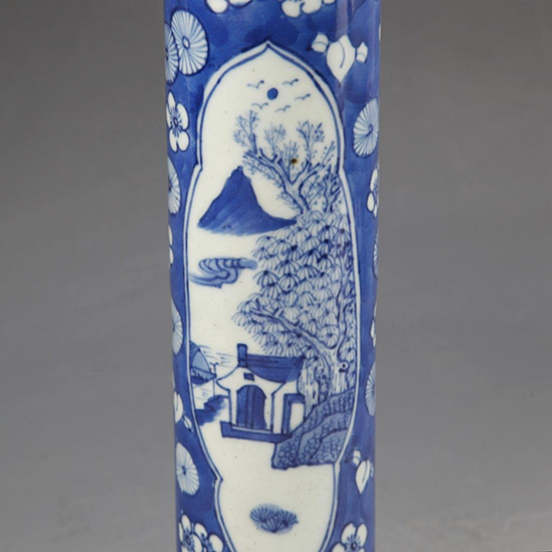 PAIR OF FINELY PAINTED BLUE AND WHITE FLOWER JAR - 5