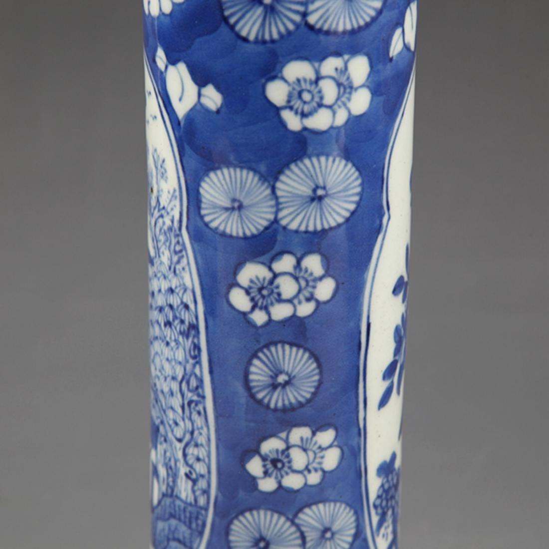 PAIR OF FINELY PAINTED BLUE AND WHITE FLOWER JAR - 6
