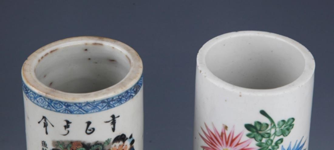 A PAIR OF FINELY PAINTED PORCELAIN BRUSH HOLDER - 2