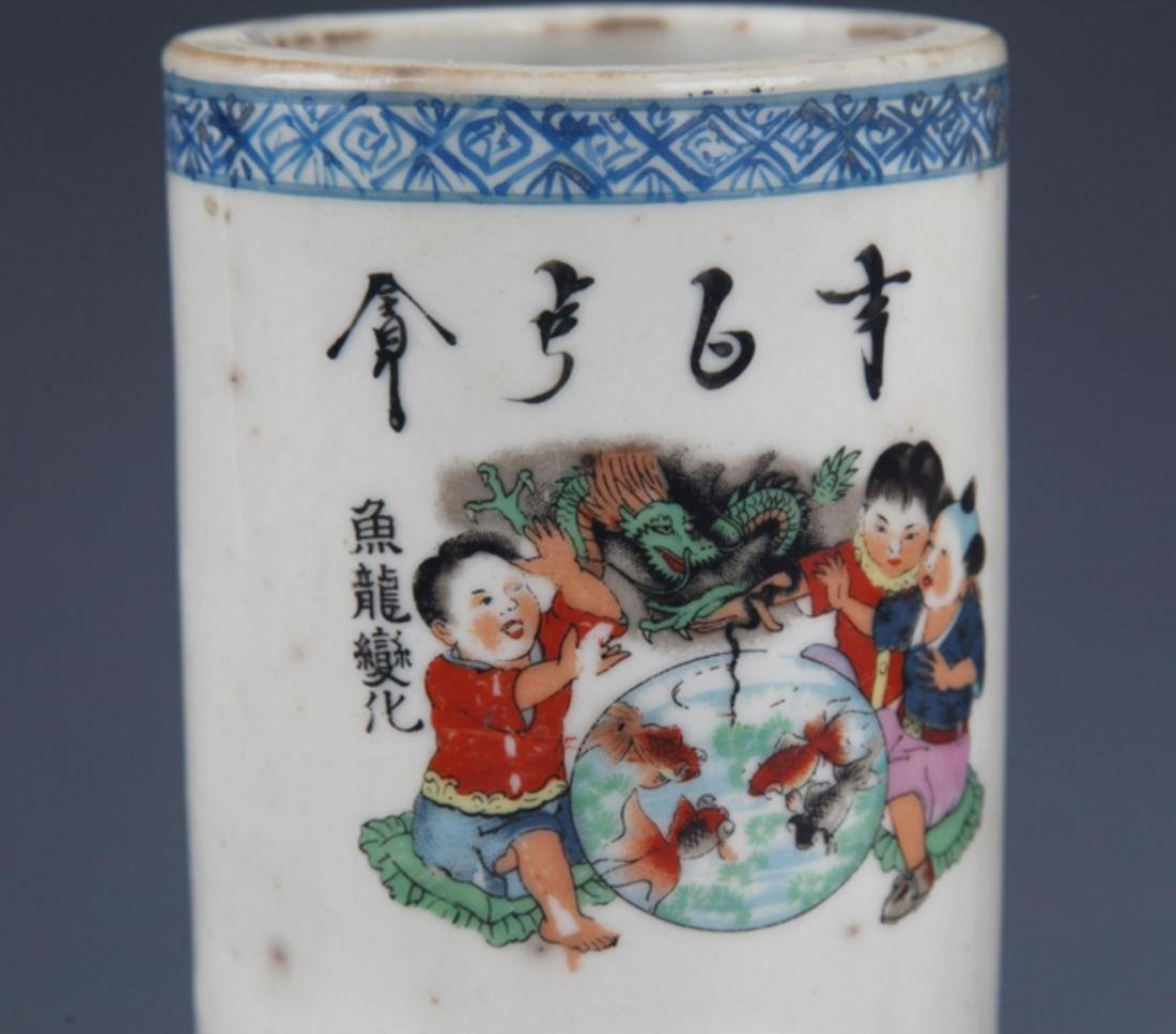 A PAIR OF FINELY PAINTED PORCELAIN BRUSH HOLDER - 4