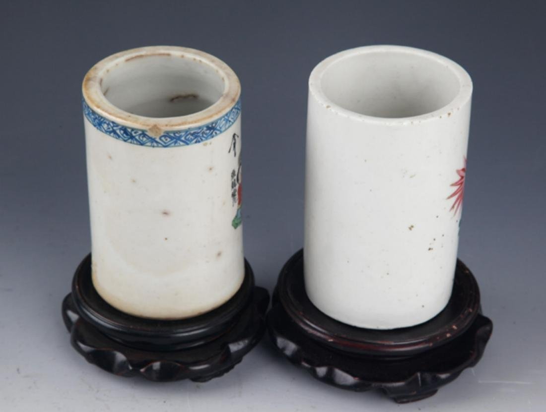 A PAIR OF FINELY PAINTED PORCELAIN BRUSH HOLDER - 5