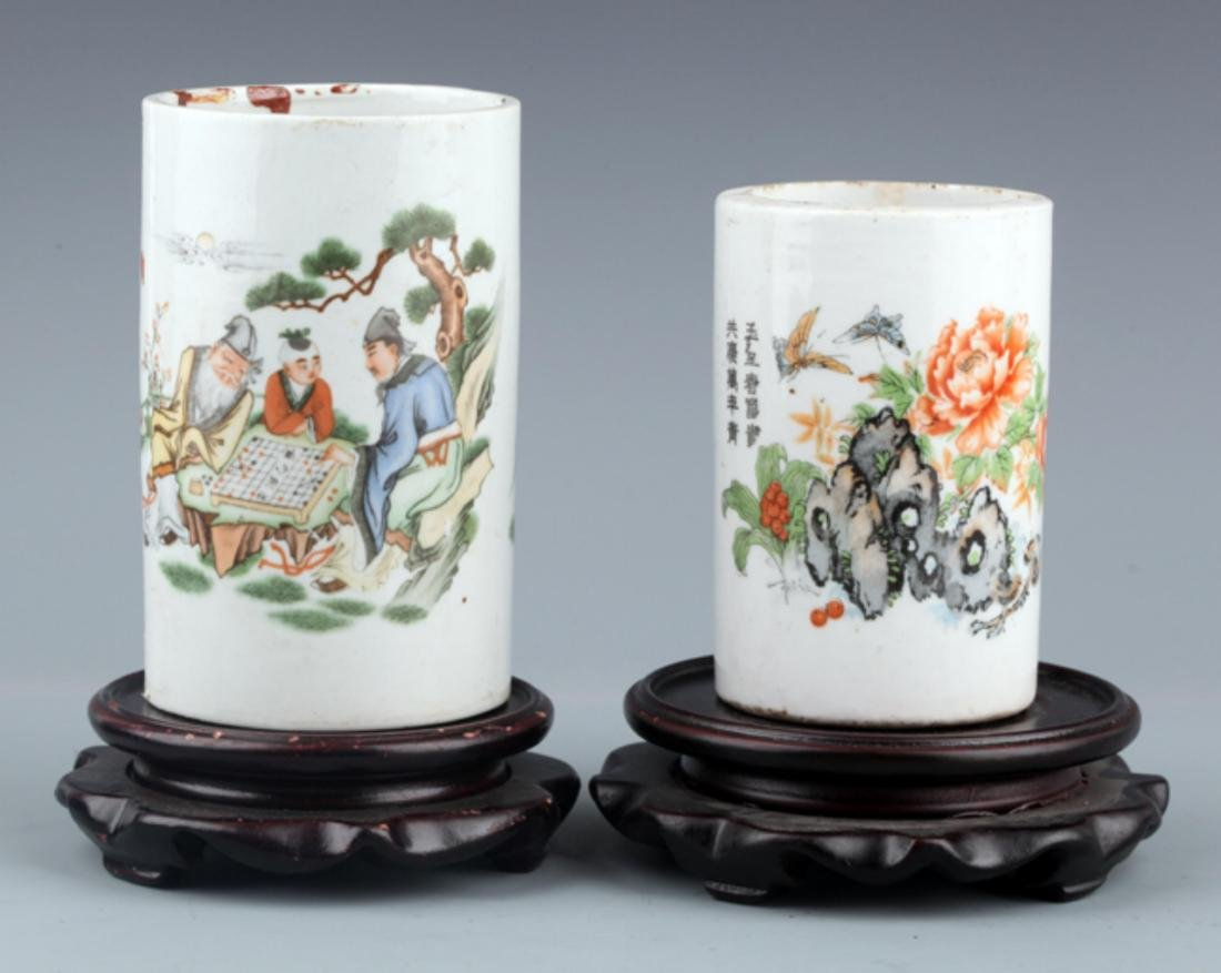 A PAIR OF COLORFUL STORY PAINTED BRUSH POT