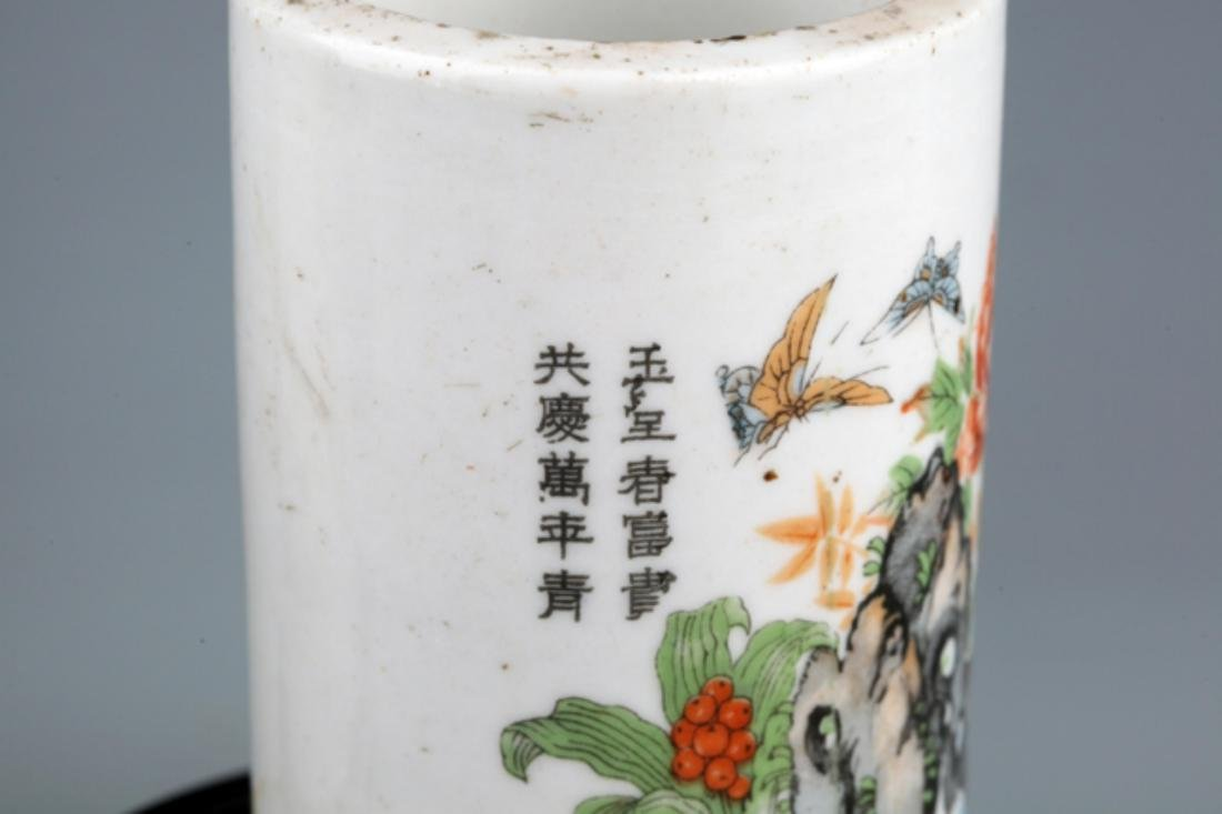 A PAIR OF COLORFUL STORY PAINTED BRUSH POT - 3