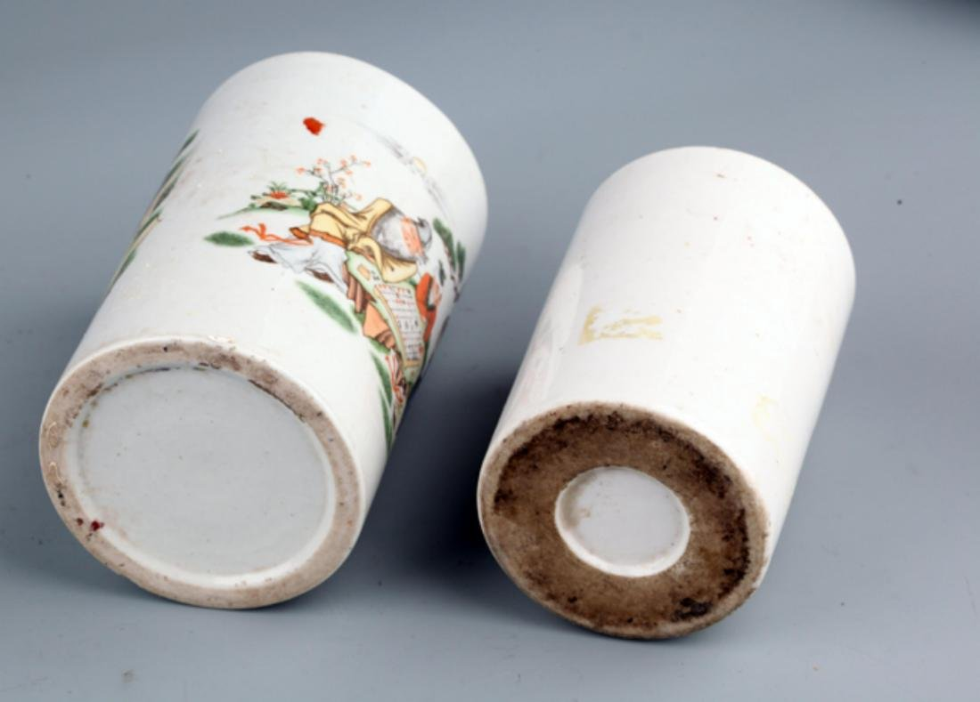 A PAIR OF COLORFUL STORY PAINTED BRUSH POT - 5