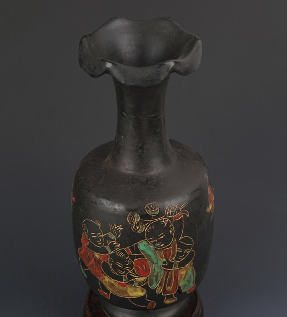 "A ""DING YAO"" BLACK COLOR FLOWER TOP BOTTLE - 2"
