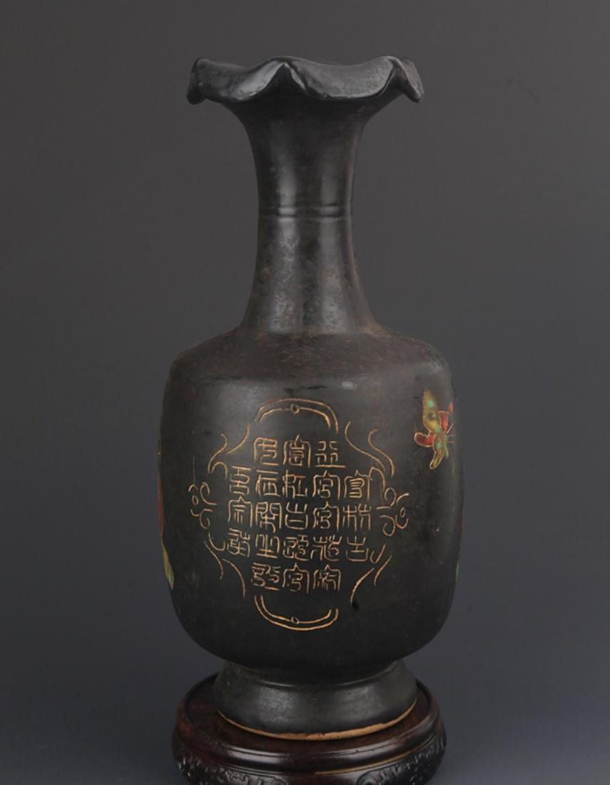 "A ""DING YAO"" BLACK COLOR FLOWER TOP BOTTLE - 5"
