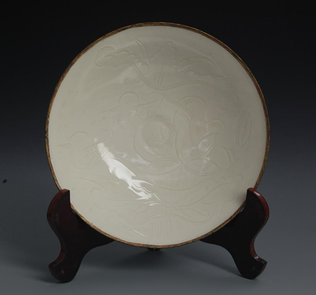 A QING YAO LOTUS CARVING PORCELAIN PLATE