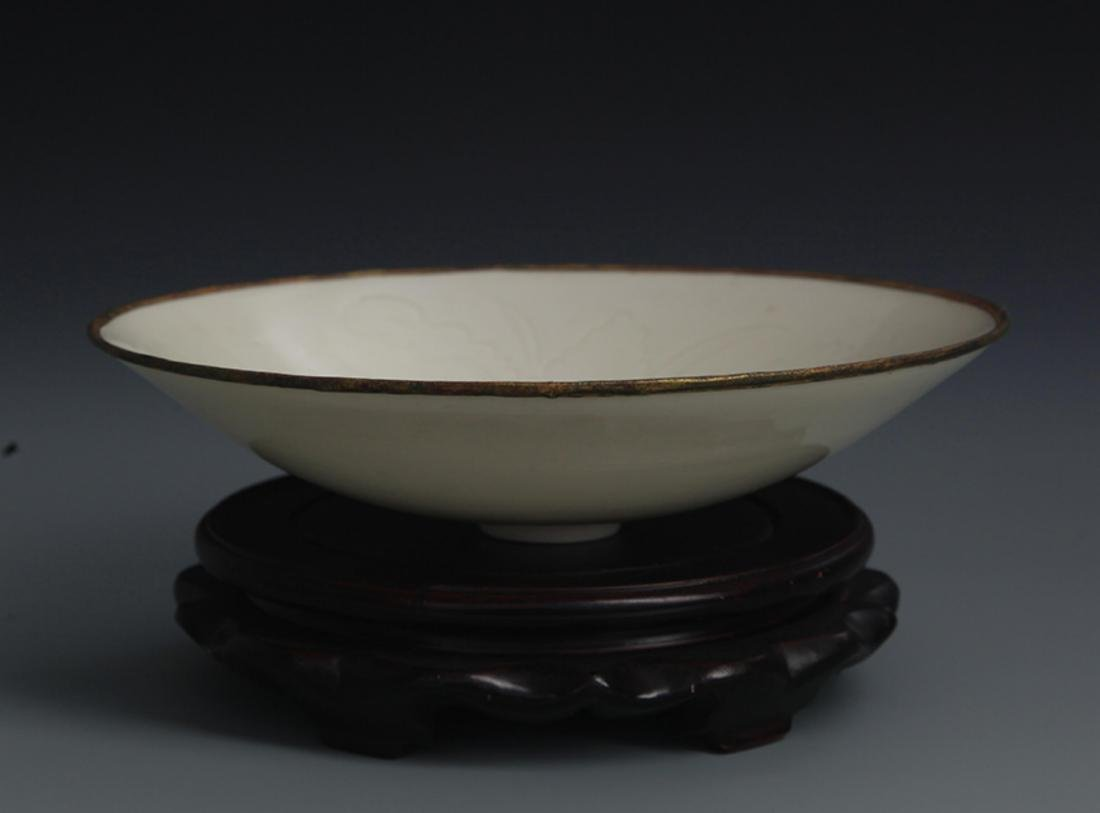 A QING YAO LOTUS CARVING PORCELAIN PLATE - 2