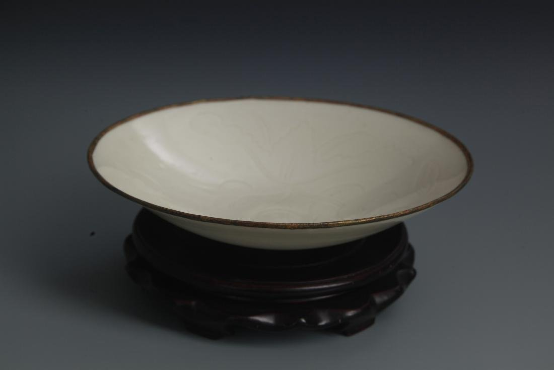 A QING YAO LOTUS CARVING PORCELAIN PLATE - 3