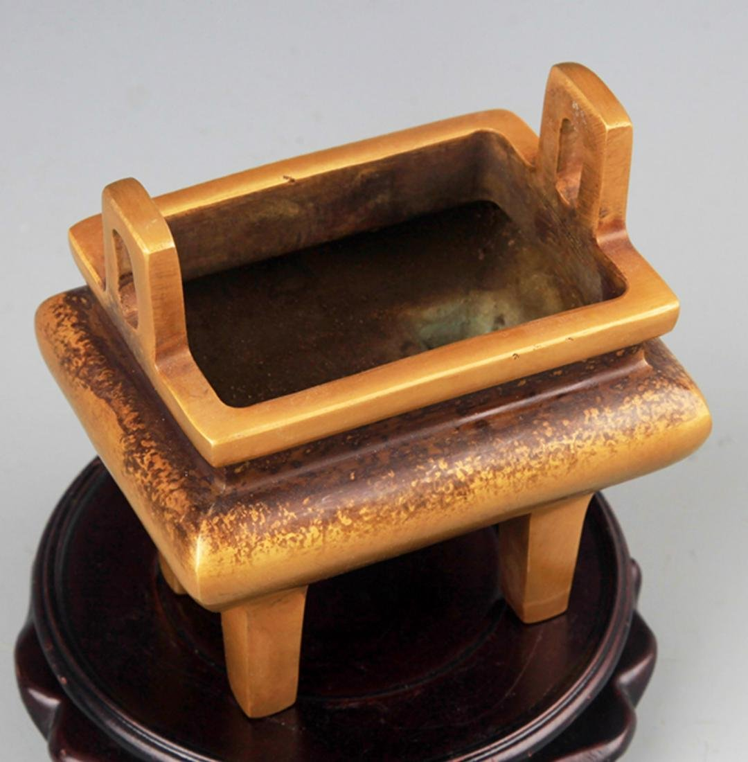 A DOUBLE EAR HIGH FOOT BRONZE CENSER - 2