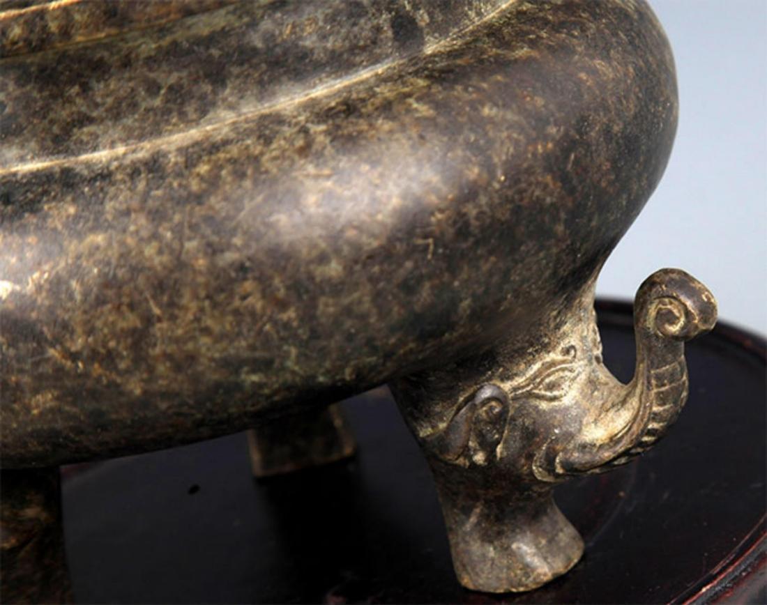 A ELEPHANT FOOT BRONZE CENSER - 4
