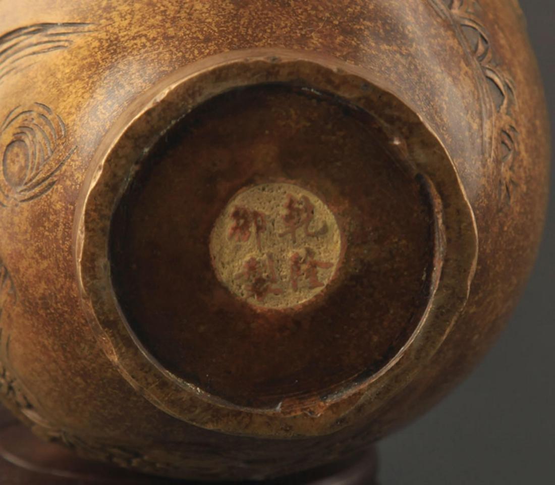 A FINE LANDSCAPE PATTERN DOUBLE EAR BRONZE JAR - 6