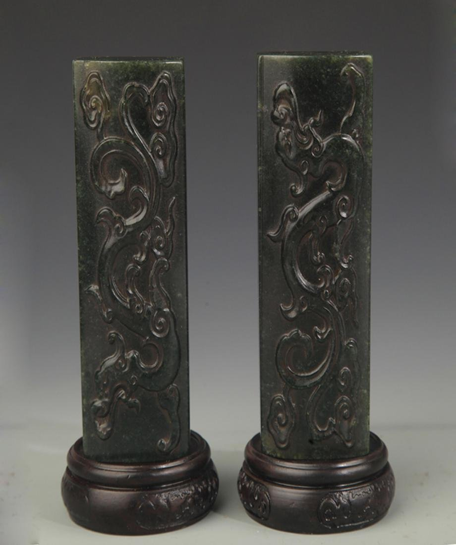 PAIR OF SHOUSHAN STONE PAPERWEIGHT