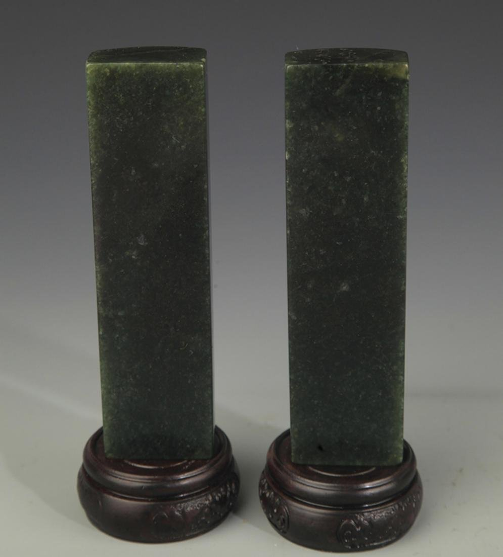 PAIR OF SHOUSHAN STONE PAPERWEIGHT - 3