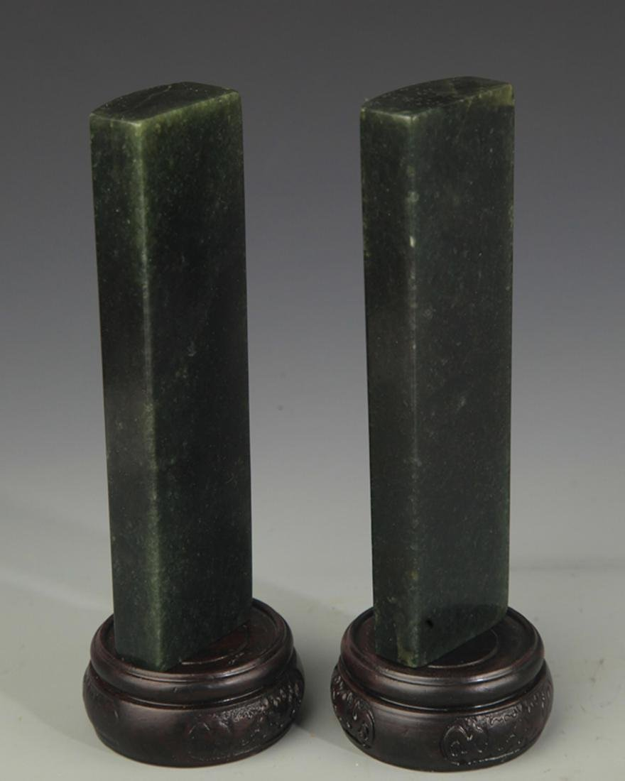 PAIR OF SHOUSHAN STONE PAPERWEIGHT - 4