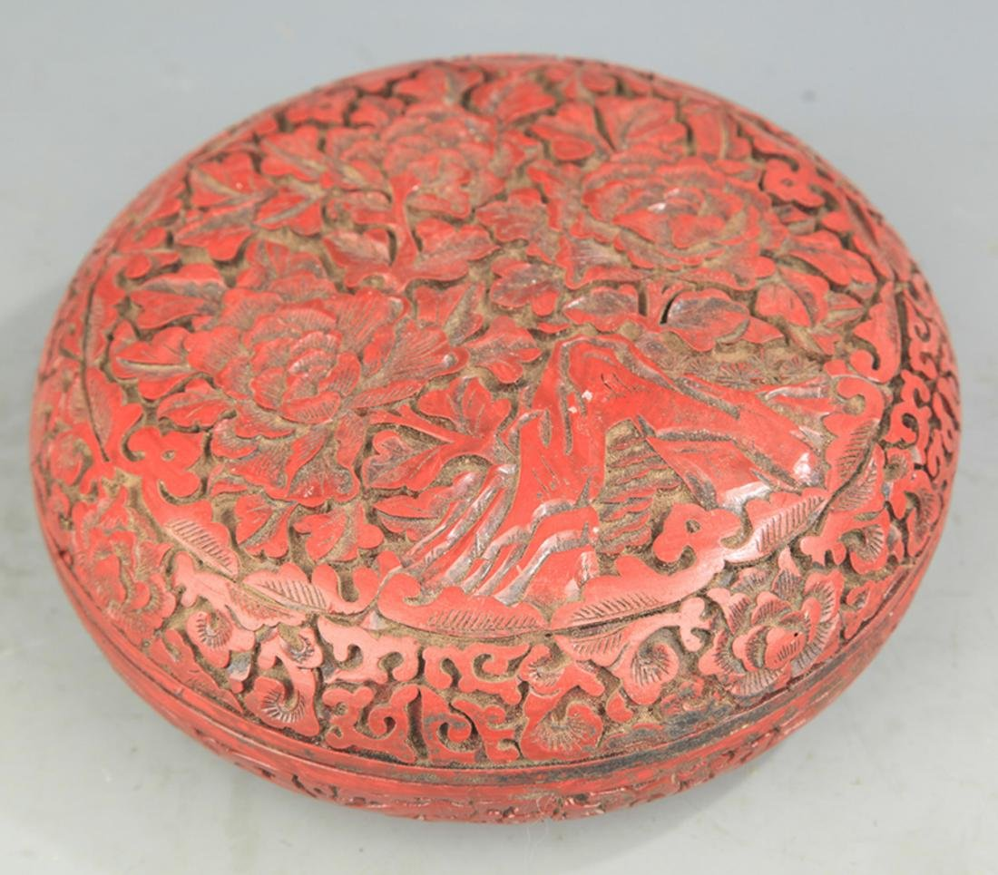 A FINE CHINESE CARVED LACQUER BOX - 2