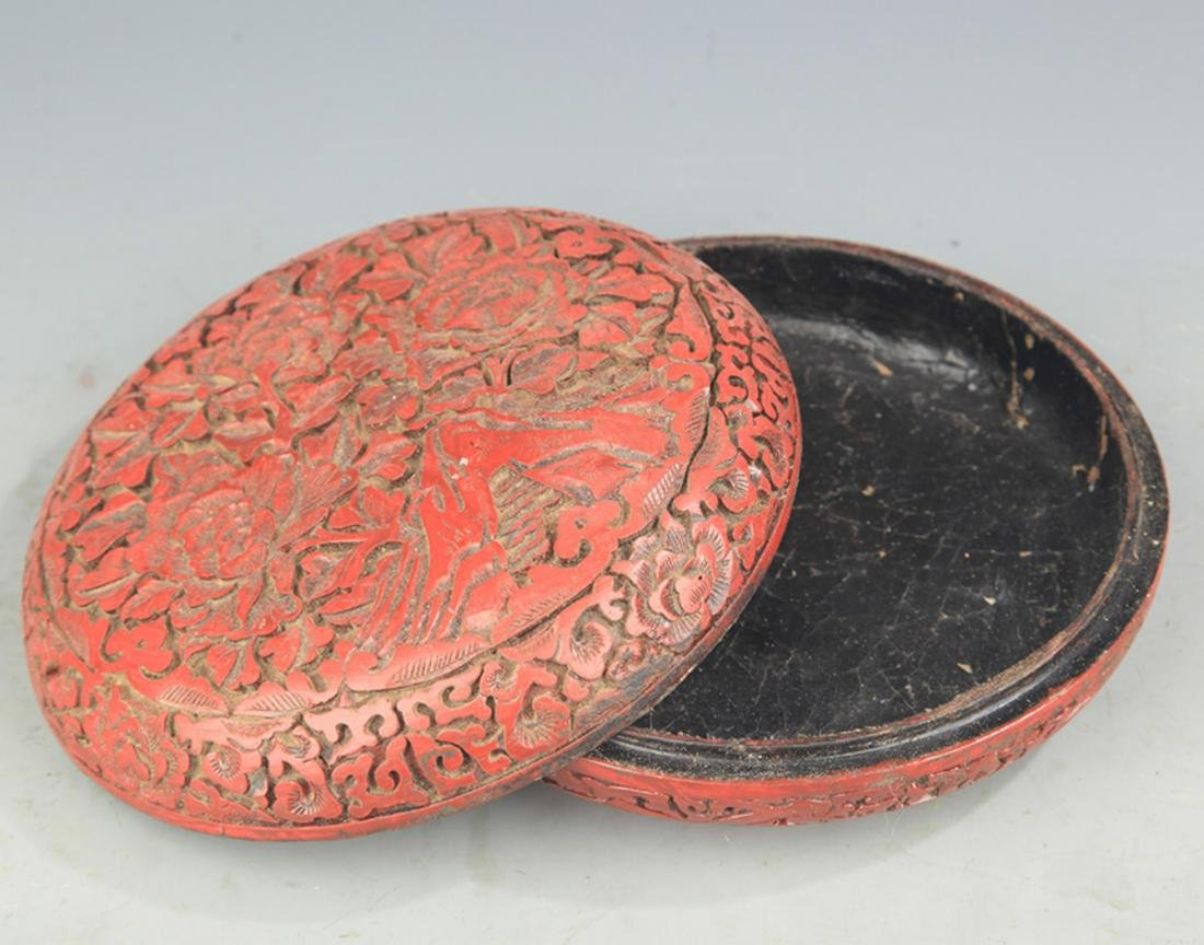 A FINE CHINESE CARVED LACQUER BOX - 3