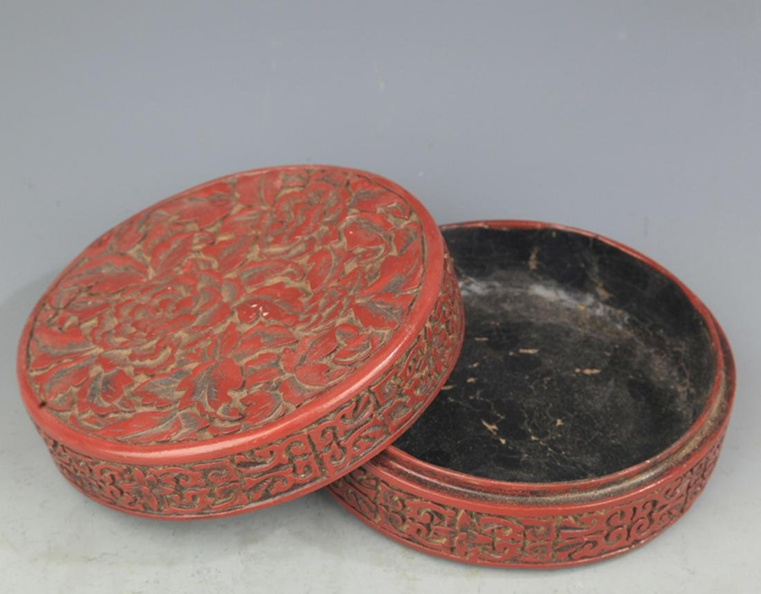 A FINE CHINESE LACQUER BOX WITH COVER - 3
