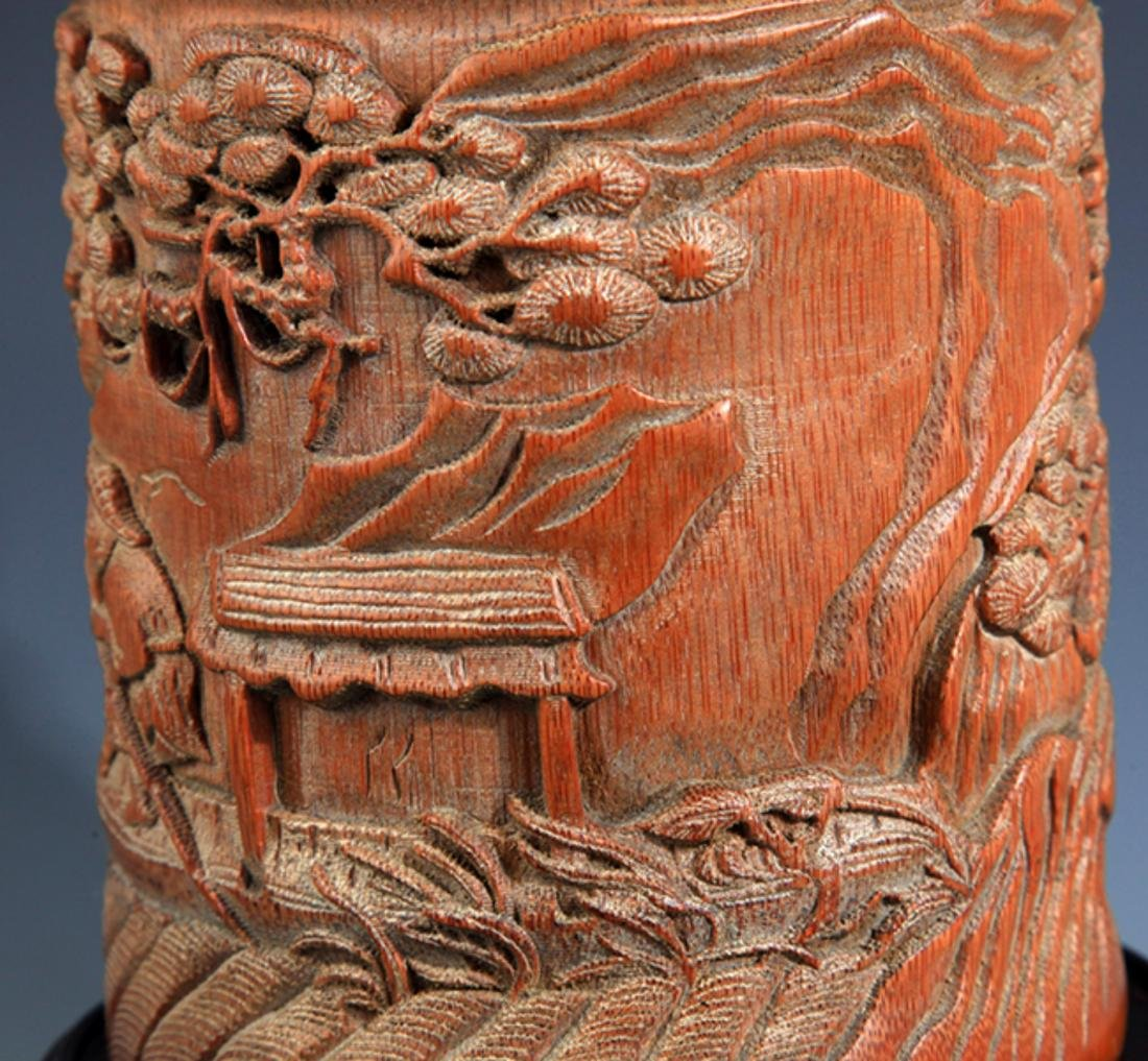A FINE BAMBOO CARVING BRUSH HOLDER - 5
