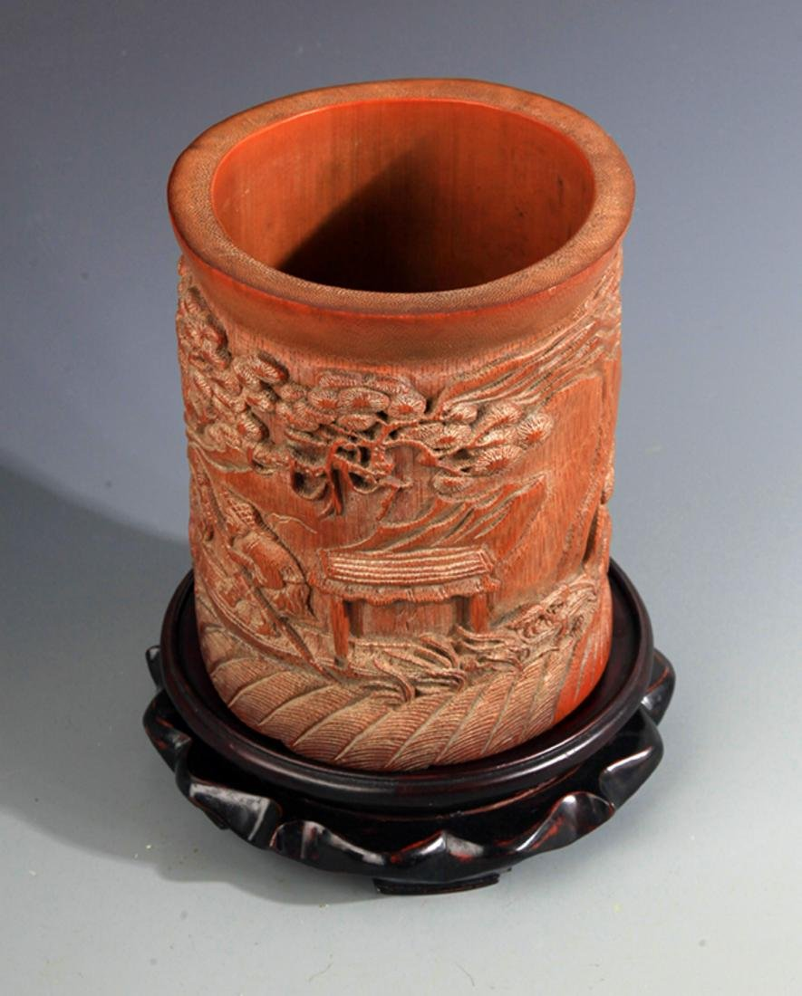 A FINE BAMBOO CARVING BRUSH HOLDER - 6