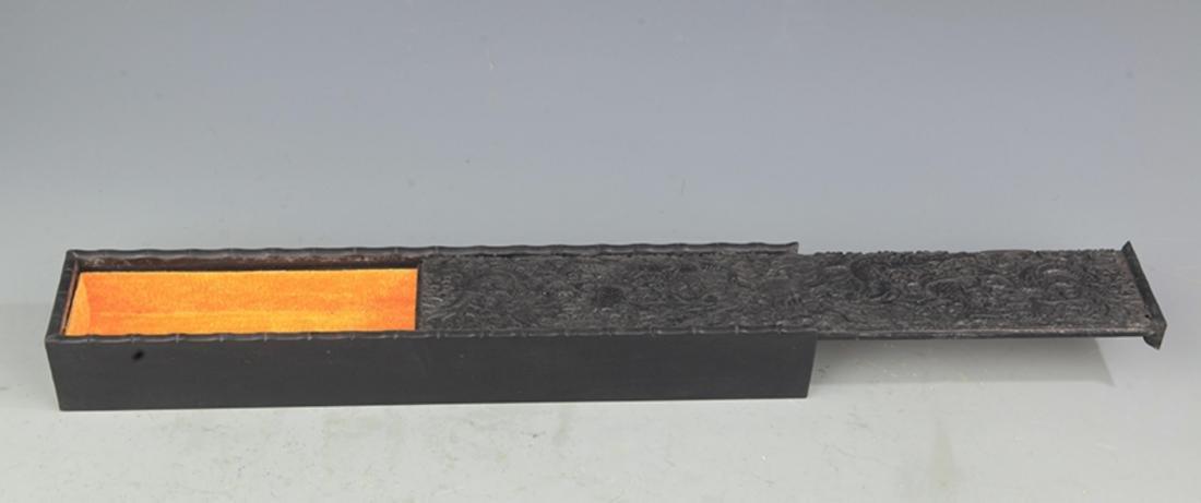 "A FINELY CARVED SANDALWOOD ""TAN MU"" BOX - 3"