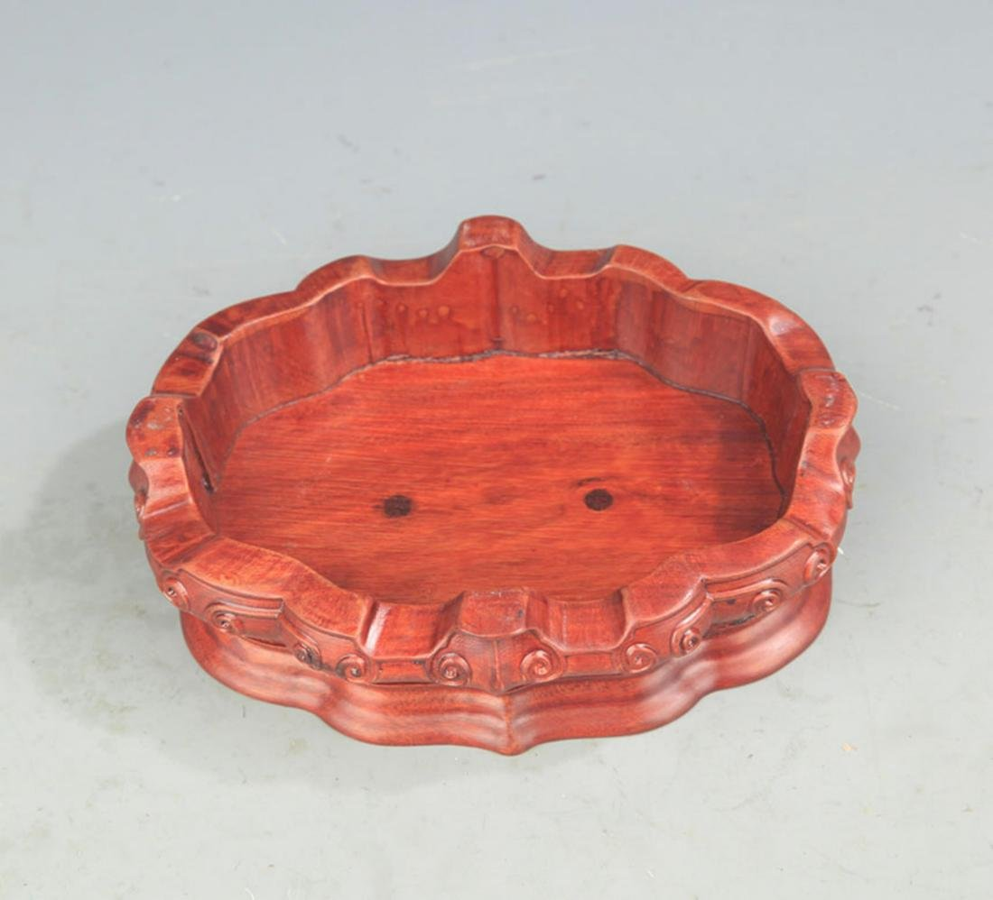 A FINE MAHOGANY WOOD BEGONIA FLOWERS CARVING BASE - 3