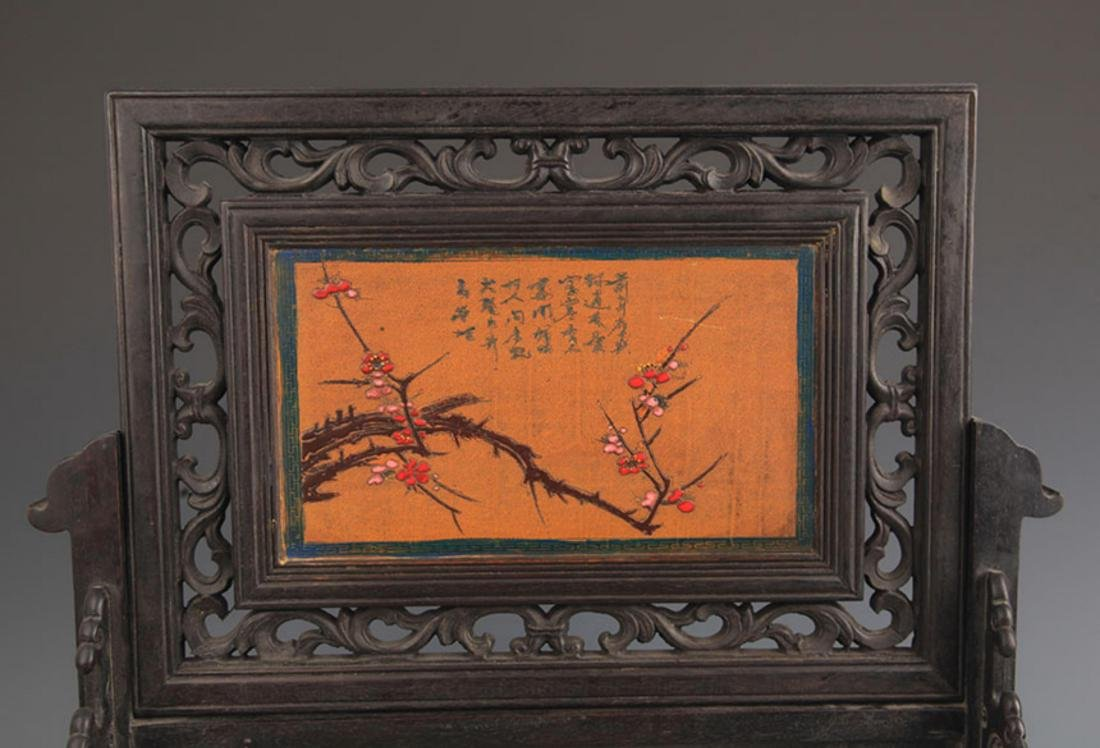 A FINE WOOD CHINESE LACQUER TABLE PLAQUE - 2
