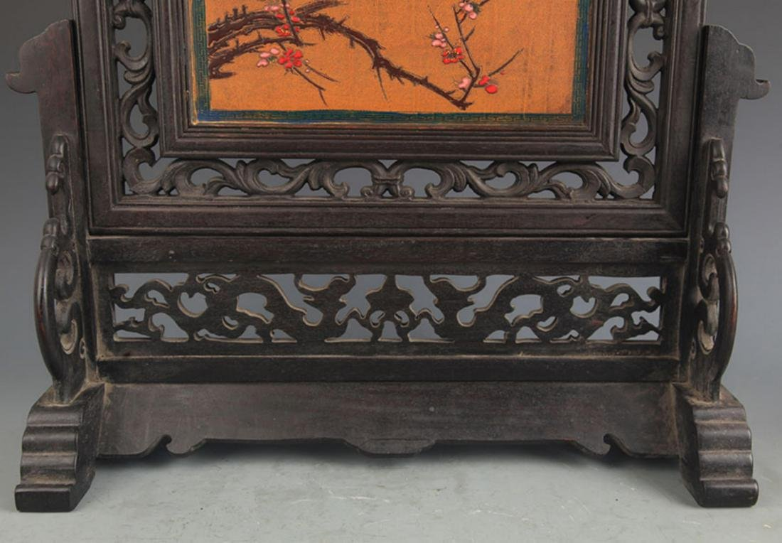 A FINE WOOD CHINESE LACQUER TABLE PLAQUE - 3