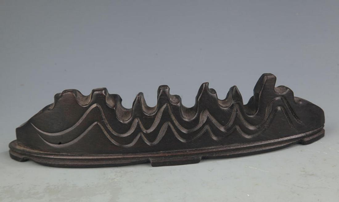 A SANDALWOOD MOUNTAIN FIGURE BRUSH RACK - 2