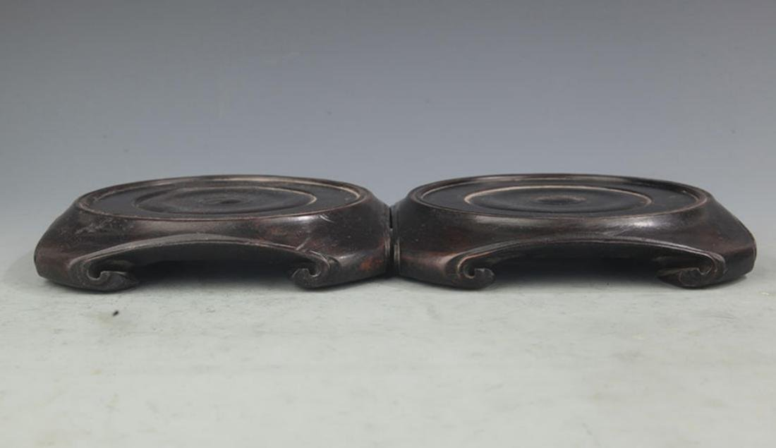 PAIR OF FINELY CARVED SANDALWOOD BASE