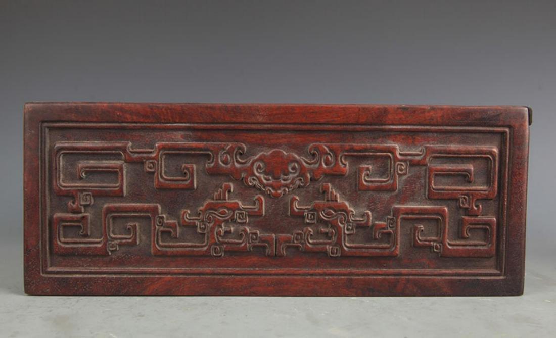 A FINELY CARVED HUA LI MU WOODEN BOX