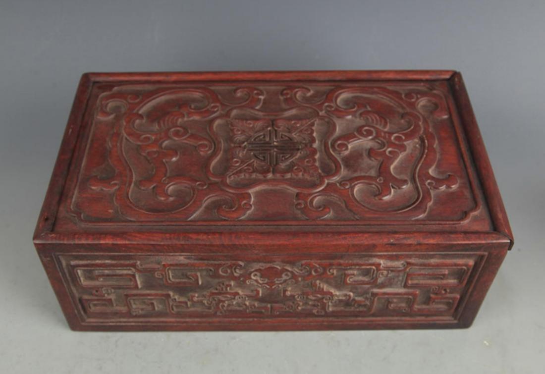 A FINELY CARVED HUA LI MU WOODEN BOX - 2
