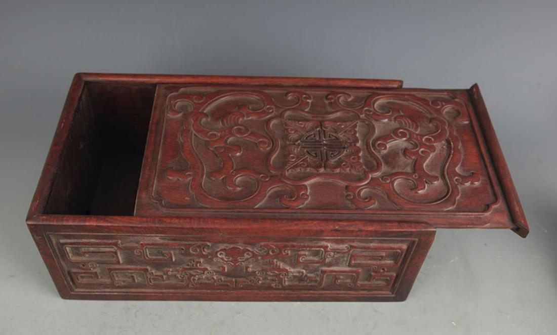 A FINELY CARVED HUA LI MU WOODEN BOX - 3