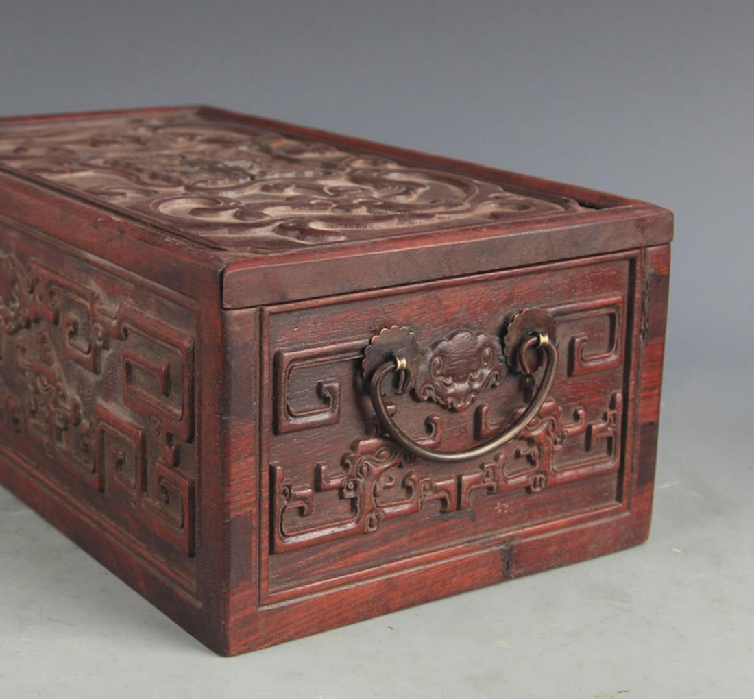 A FINELY CARVED HUA LI MU WOODEN BOX - 4