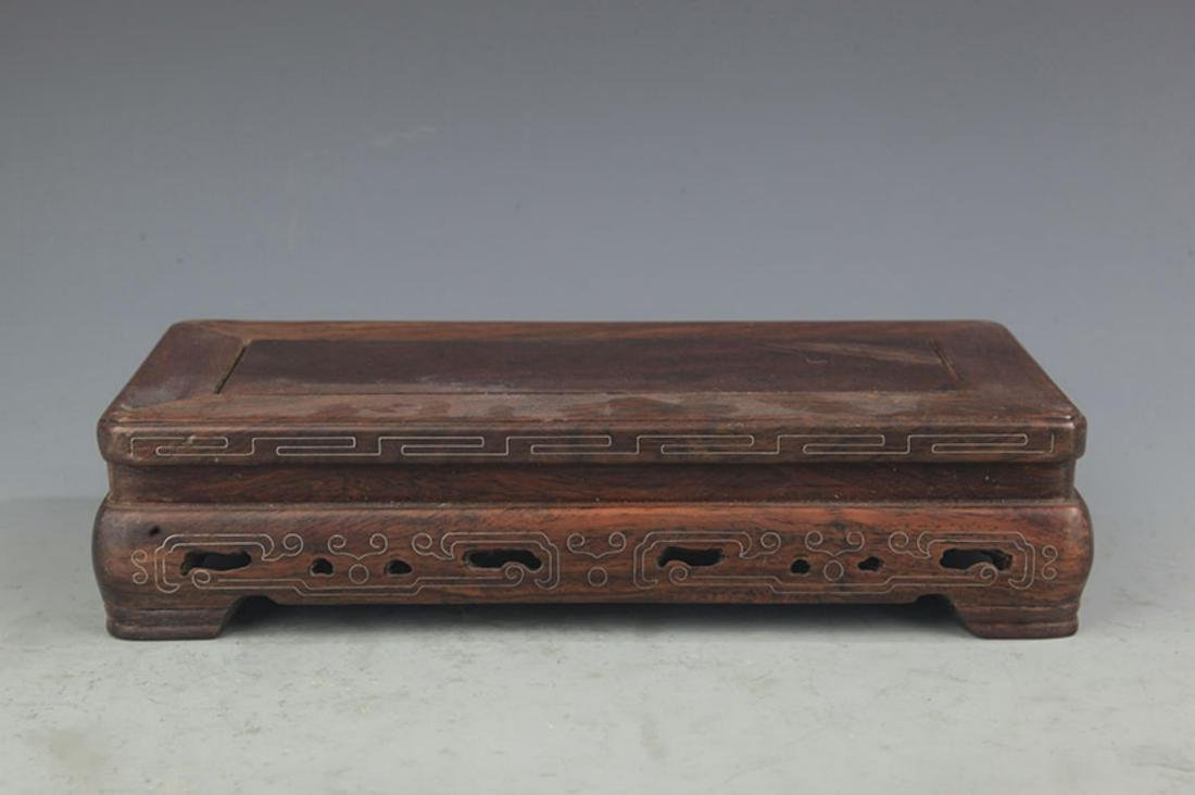 A HUA LI MU SILVER INLAY WOOD BASE