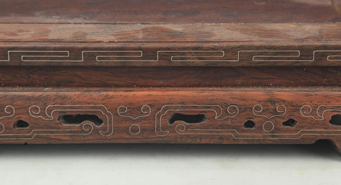 A HUA LI MU SILVER INLAY WOOD BASE - 3