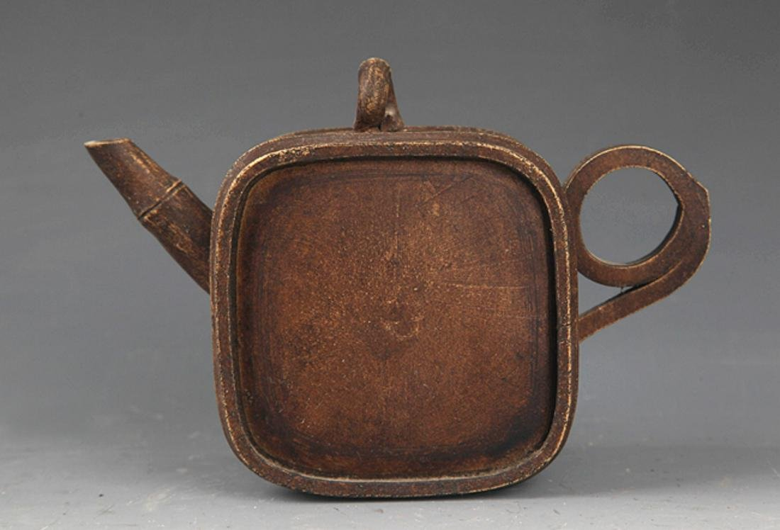 A FINELY MADE SQUARE BAMBOO SHAPE ZIXHA TEAPOT