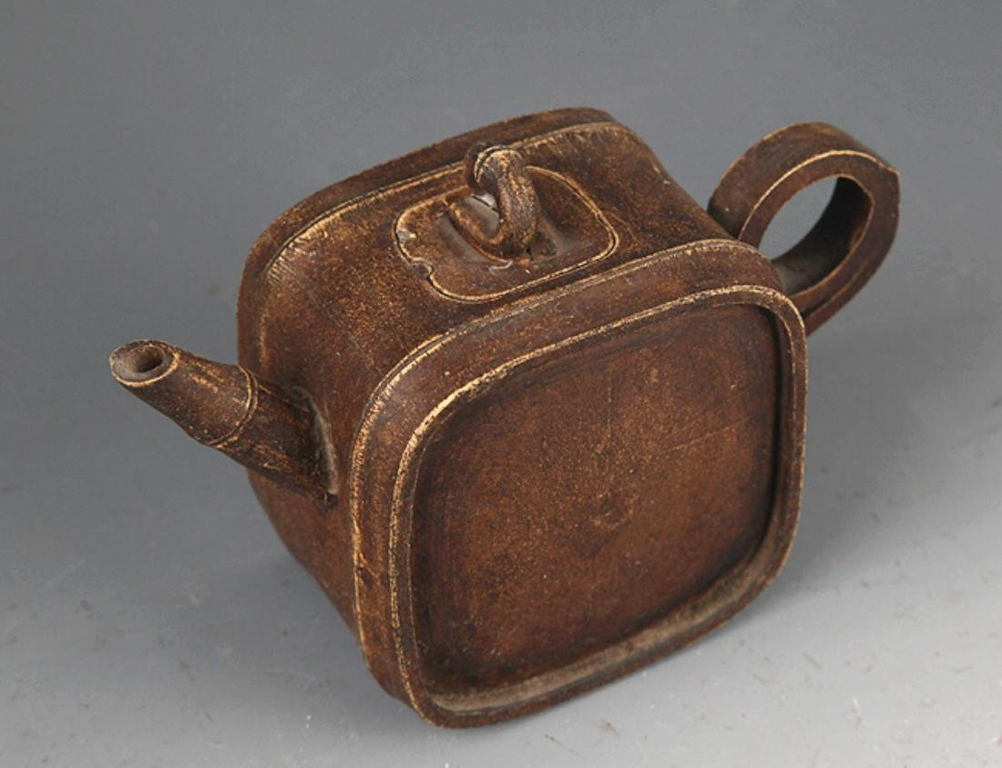 A FINELY MADE SQUARE BAMBOO SHAPE ZIXHA TEAPOT - 2
