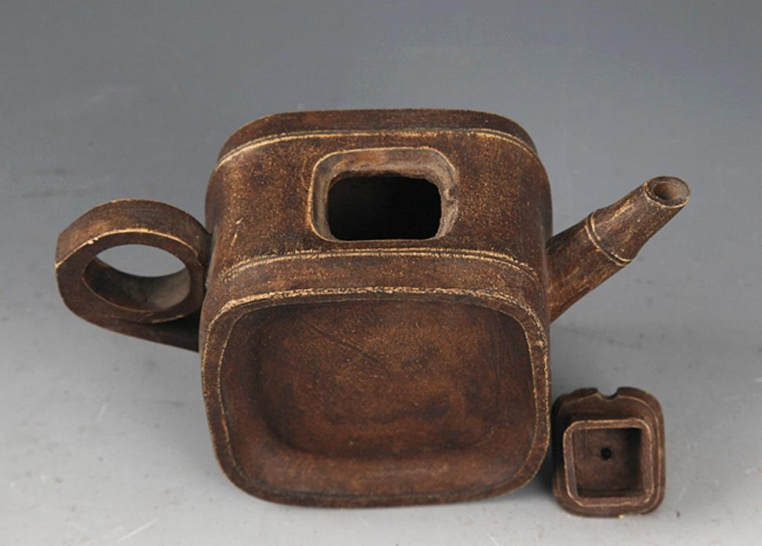 A FINELY MADE SQUARE BAMBOO SHAPE ZIXHA TEAPOT - 3