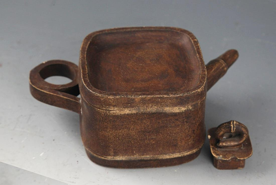 A FINELY MADE SQUARE BAMBOO SHAPE ZIXHA TEAPOT - 4