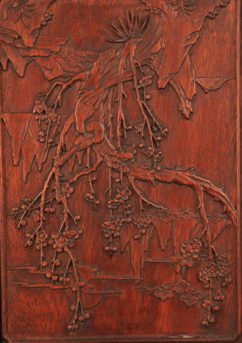 A HUA LI MU MAGPIES CARVING TABLE PANEL - 2