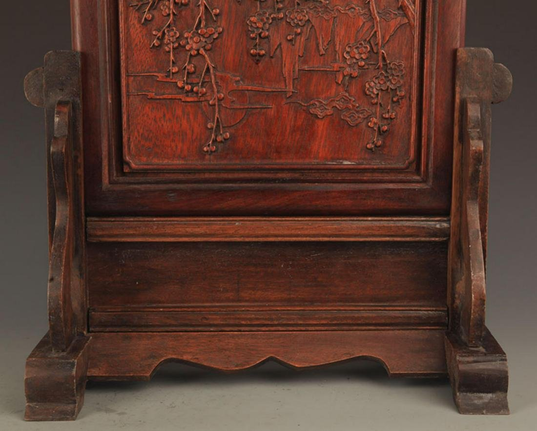 A HUA LI MU MAGPIES CARVING TABLE PANEL - 3