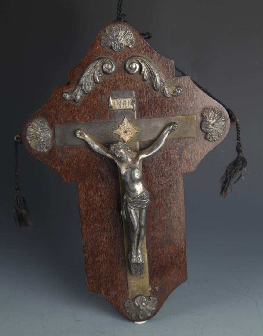 A LARGE SILVER PLATE JESUS FIGURE