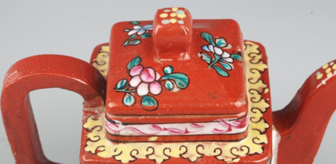 A FINELY PAINTED RED COLOR PORCELAIN WATER POT - 5